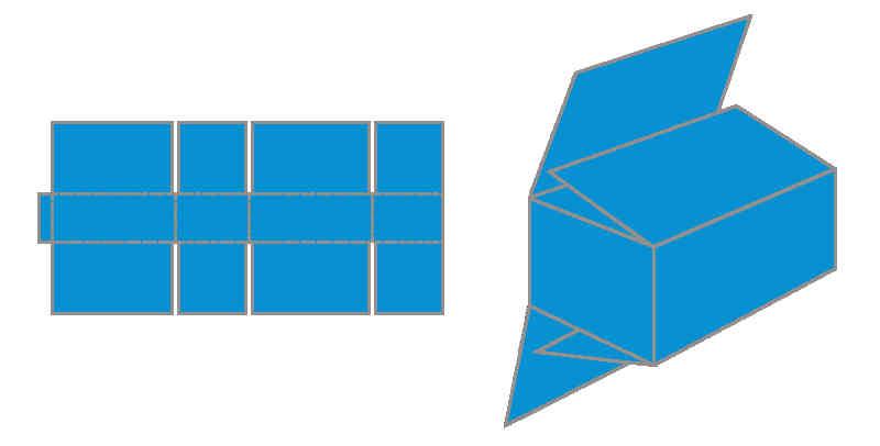 Abbildung bzw. Zeichnung des Fefco 0203 Faltkartons.