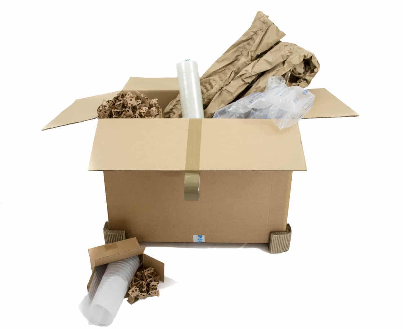 Verpackungsmaterial aus Papier und Kunststoff. Zusätzlich innovative Füll- und Polstermaterialien.