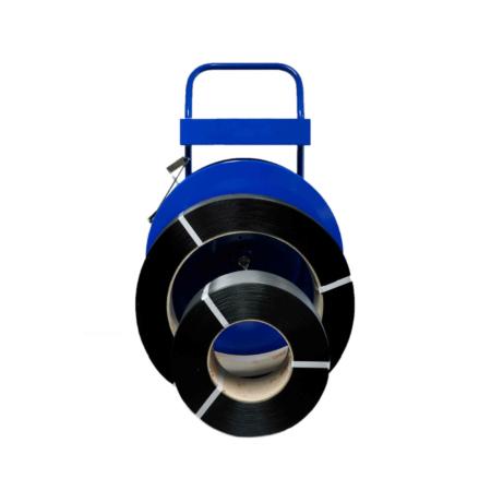 Abroller bzw. Abrollwagen für Umreifungsband.