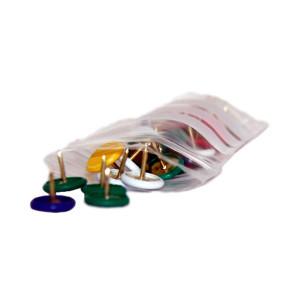 Druckverschlussbeutel transparent mit weißen Beschriftungsfeld gefüllt mit Reißnägeln