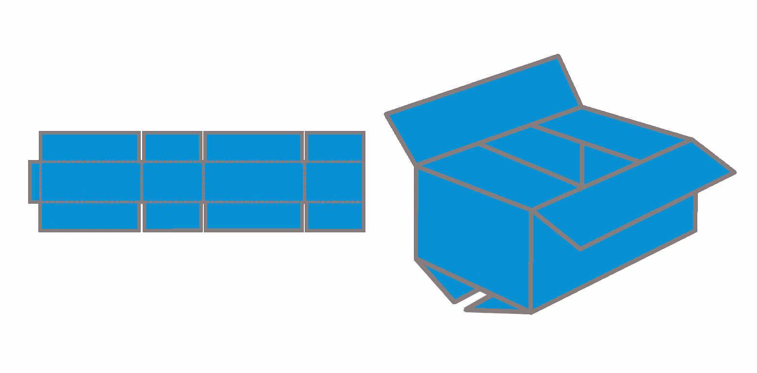 Aufbau und Konstruktion des Fefco 0201 Faltkartons.