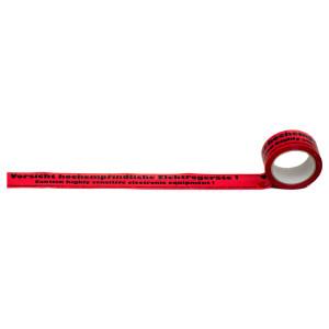 Warnband in rot mit Naturkautschukkleber mit Aufschrift Vorsicht hochempfindliche Elektrogeräte