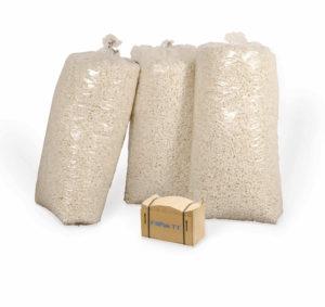 Ein Päckchen FillPak TT Papier ergibt drei Säcke volle Verpackungschips.