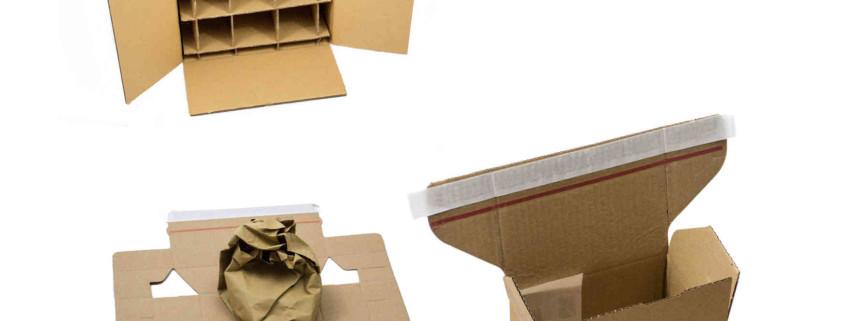 Karton Sonderlösungen wie zum Beispiel gefache für Flaschen, Security Pack mit Aufreißlasche