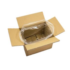 Ein Seitenfaltenbeutel (transparent) in einem Karton.