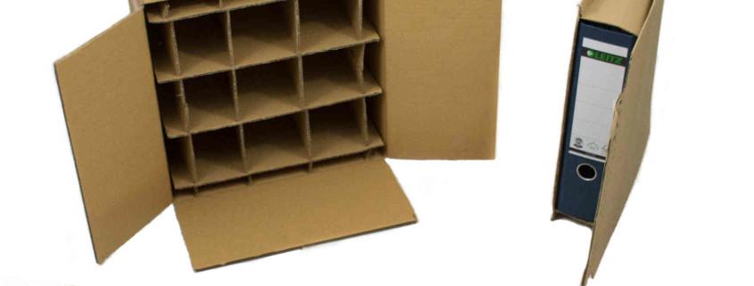 Themenkartons wie zum Beispiel Ordnerverpackungen, Flaschen- und Postkartons