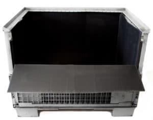 Geöffnete Gitterboxauskleidung aus Hohlkammerplatten (Kunststoff)