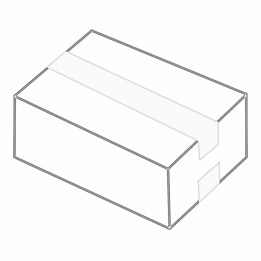 Einfacher Kartonverschluss mit Klebeband. Dabei wird das Klebeband über die Deckel- und Bodenklappe geklebt.