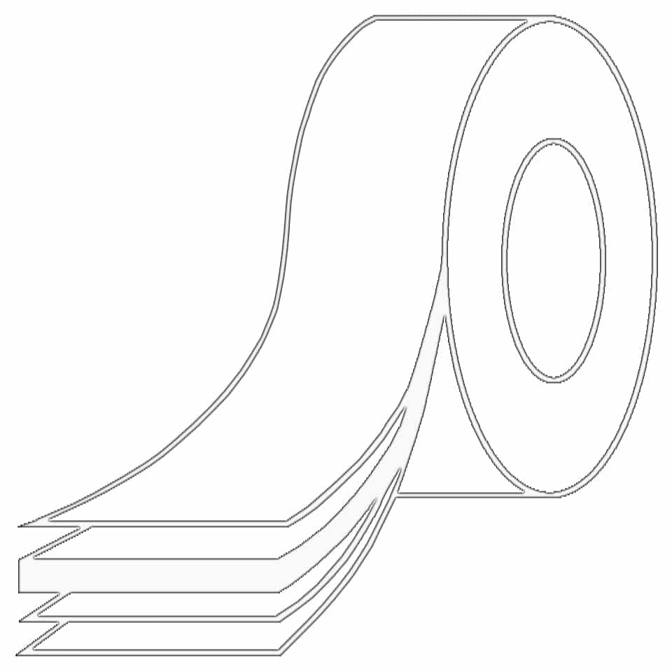 Zeichnung von einem Packband, welches die verschiedenen Schichten des Klebebandes zeigt.