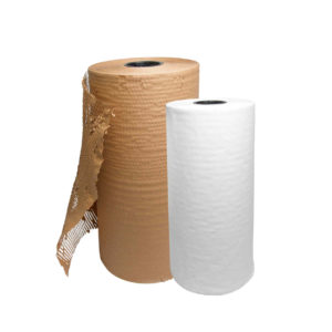 Glattes, weißes Papier und gestanztes braunes Papier auf Rollen