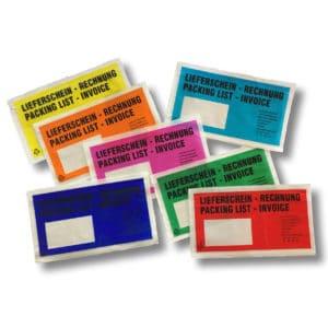 bunte Lieferscheintaschen und Versandtaschen in rot, gelb, grün, türkis, blau, orange und pink