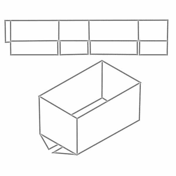 Zeichnung exemplarisch für einen FEFCO 0200 Karton