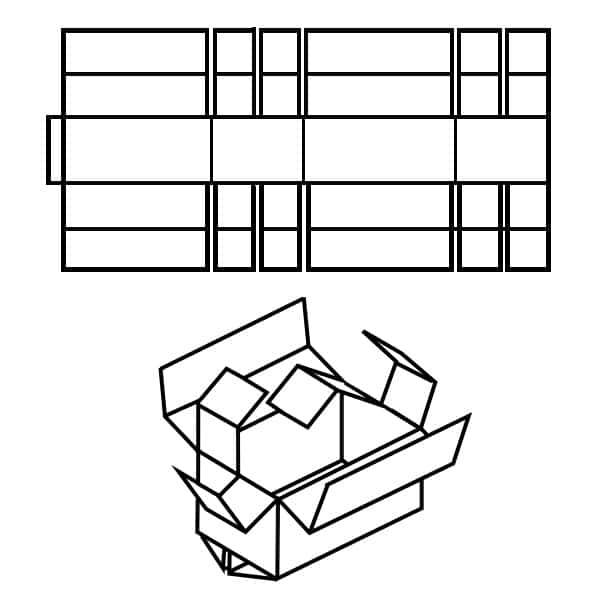 Fefco 0208 Zeichnung. Karton mit vier oder sechs Gefachen.